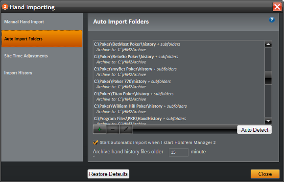 Holdem Manager Hand Importing - Auto Import Folders