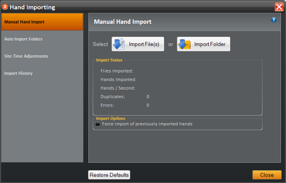 Holdem Manager Hand Importing - Manual Hand Import